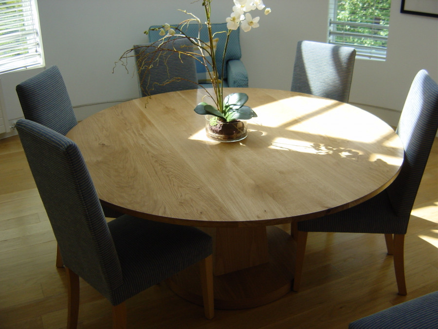 TDN custom pedestal table in oak with Slim dining chairs