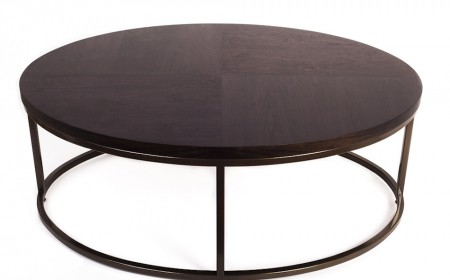 Oval coffee table bronze epc base walnut stain quartered top2